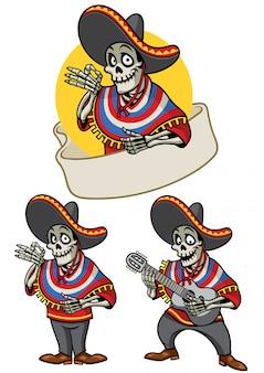 Dessin animé, de, crâne, mexicain, ensemble