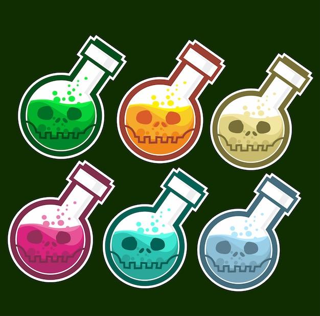 Dessin animé de crâne de poison halloween