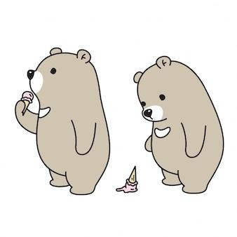 Dessin animé crème glacée ours vecteur ours