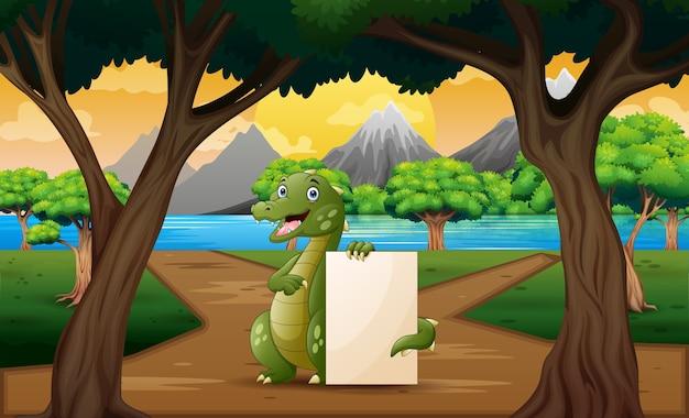 Dessin animé un crocodile tenant une pancarte vierge au milieu de la route