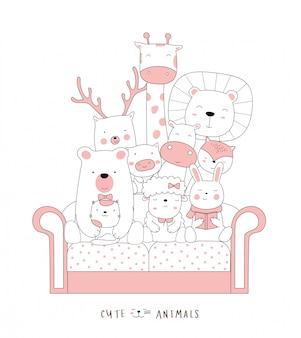Dessin animé croquis l'animal mignon bébé chat sur le canapé. style dessiné à la main.