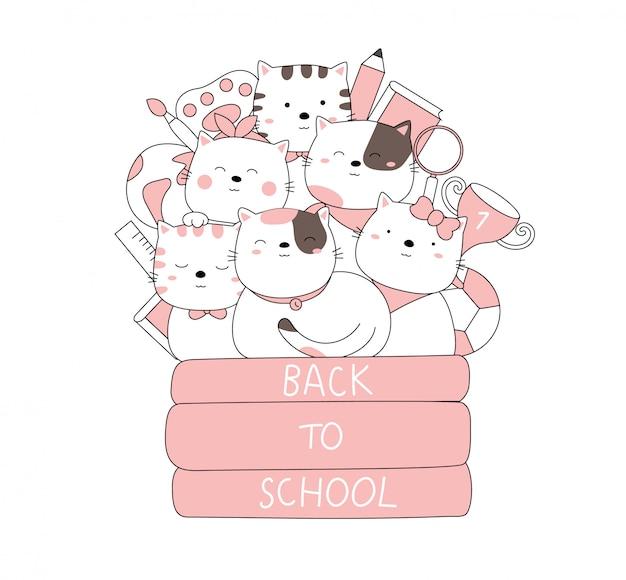 Dessin animé croquis l'animal mignon bébé chat retour à l'école. style dessiné à la main.