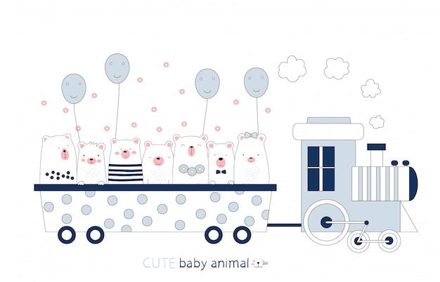 Dessin animé croquis l'animal mignon bébé ours dans le train. style dessiné à la main.