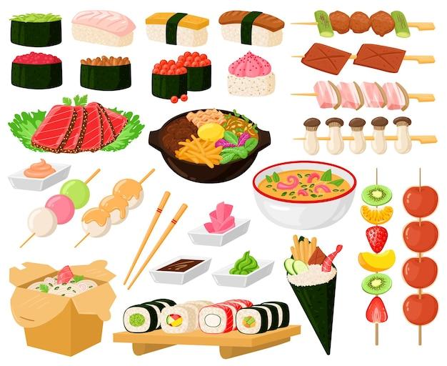 Dessin animé cuisine asiatique orientale cuisine de rue plats délicieux. cuisine japonaise, nouilles, sashimi, rouleaux de sushi de fruits de mer ensemble d'illustrations vectorielles. délicieuse cuisine chinoise ou japonaise