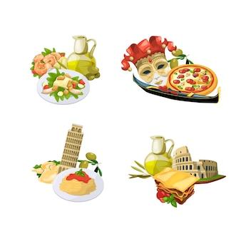 Dessin animé, cuisine italienne, éléments, piles, ensemble, isolé, blanc, fond, illustration