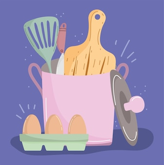 Dessin animé de cuisine lié