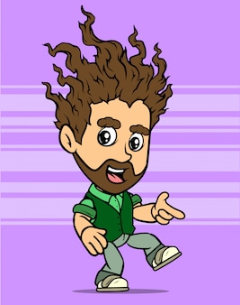 Dessin animé dansant personnage de garçon barbu aux cheveux longs
