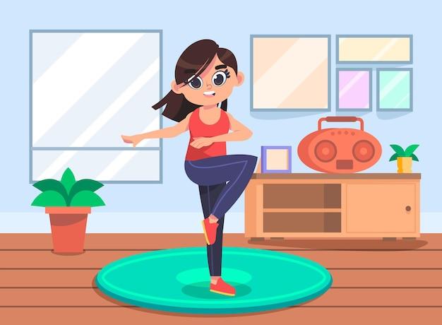 Dessin animé danse fitness à la maison