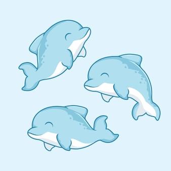 Dessin animé de dauphin animaux poissons mignons