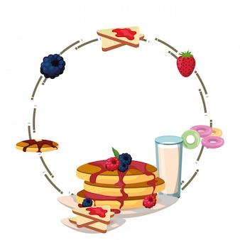 Dessin animé délicieux cadre de petit déjeuner