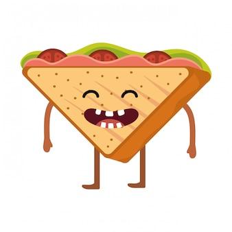 Dessin animé délicieux sandwich