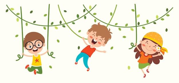 Dessin animé, dessin animé, de, heureux, caractère, oscillation