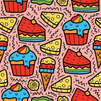 Dessin animé dessiné à la main doodle conception de modèle de dessert
