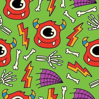Dessin animé dessiné à la main doodle conception de modèle sans couture monstre