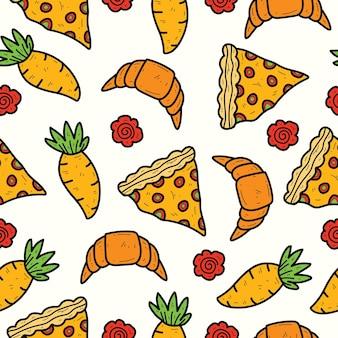 Dessin animé dessiné à la main doodle conception de modèle sans couture de nourriture