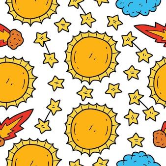 Dessin animé dessiné à la main doodle conception de modèle sans couture soleil