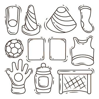 Dessin animé dessiné à la main doodle éléments de football gros lot de coloriage