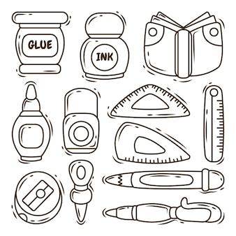 Dessin animé dessiné à la main doodle kawaii école collection d'articles à colorier