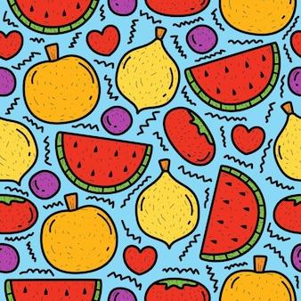 Dessin Animé Dessiné à La Main Doodle Motif De Fruits Vecteur Premium