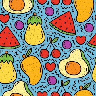 Dessin animé dessiné à la main doodle motif de fruits