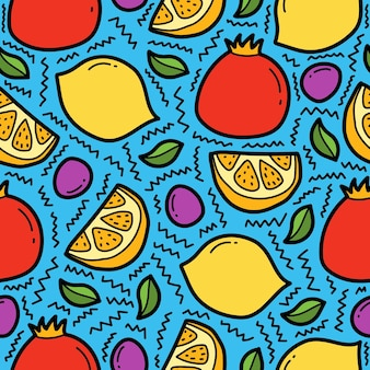 Dessin animé dessiné à la main doodle motif de fruits