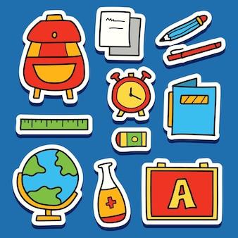Dessin animé dessiné à la main doodle retour à la conception d'autocollant d'école