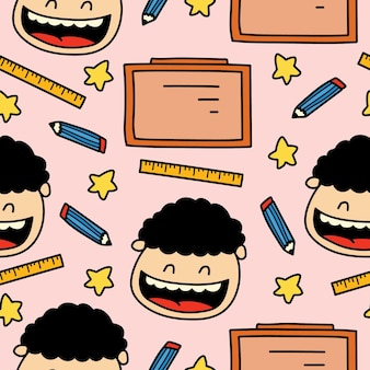 Dessin animé dessiné à la main doodle retour à la conception de modèle d'école
