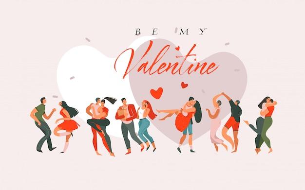 Dessin animé dessiné à la main graphique moderne happy valentine's day concept illustration avec danse couples personnes ensemble isolé