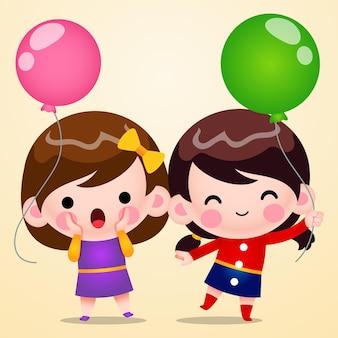 Dessin animé, deux, mignon, petite fille, tenue, ballon