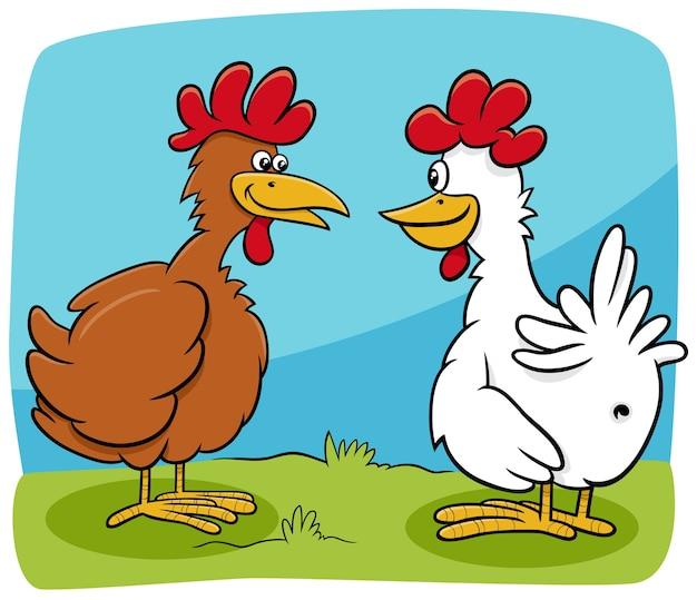 Dessin animé, deux poules, ferme, oiseaux, caractères, conversation