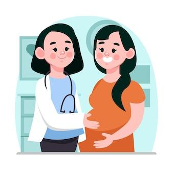 Dessin Animé Dia Internacional De La Obstetricia Y La Embarazada Illustration Vecteur gratuit
