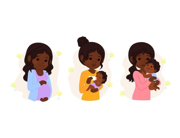 Dessin animé dia internacional de la obstetricia y la embarazada illustration