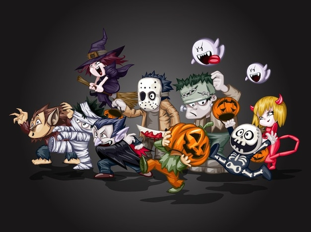 Dessin animé diable halloween vecteur de caractères