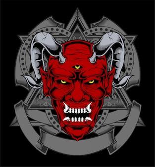 Dessin animé diable rouge satan ou visage de démon lucifer avec des cornes