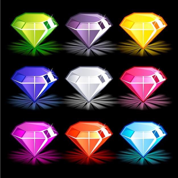 Dessin animé de diamants colorés lumineux,