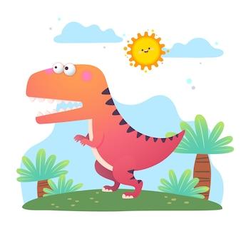 Dessin animé, dinosaure tyrannosaure rex