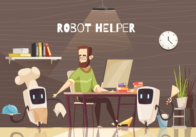 Dessin animé de dispositifs d'assistance robotique