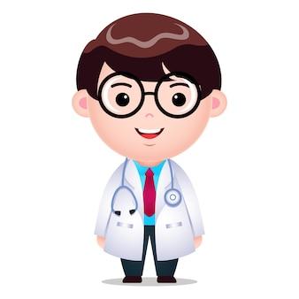 Dessin animé, docteur, caractère masculin, illustration