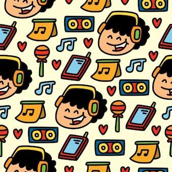 Dessin animé doodle conception de modèle sans couture de musique