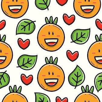 Dessin animé doodle conception de modèle sans couture orange