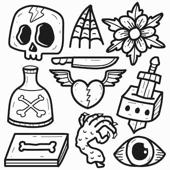 Dessin animé doodle conception de tatouage kawaii