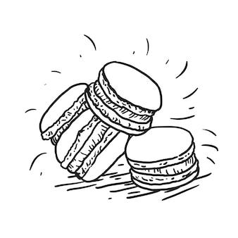 Dessin animé doodle macaron gâteaux, croquis illustration de style