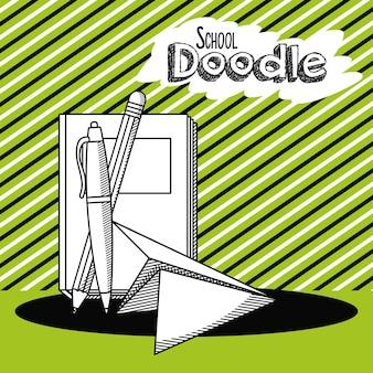 Dessin animé de doodle scolaire