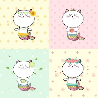 Dessin animé douce sirène chat mignon