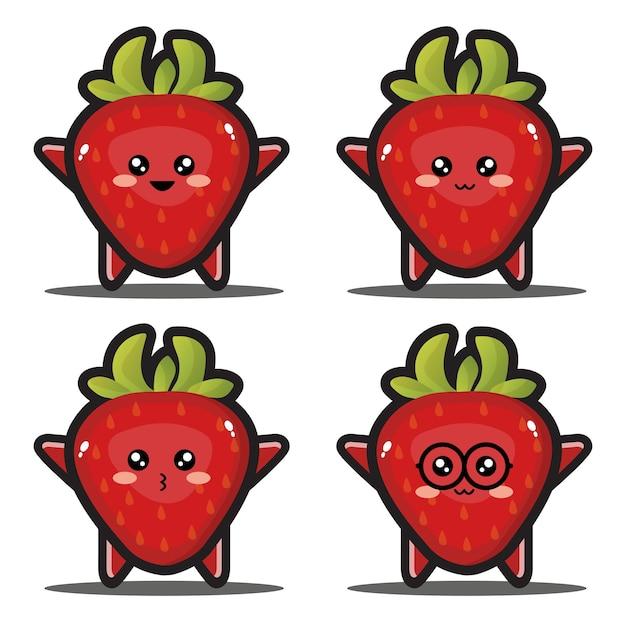 Dessin animé doux fraise fruit kawaii design premium
