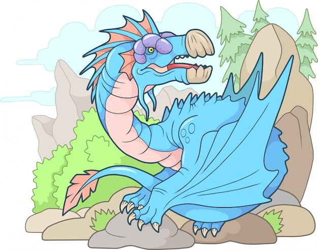 Dessin animé dragon carnivore en colère, illustration drôle,