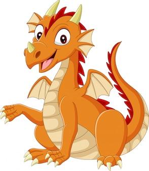 Dessin animé dragon heureux sur blanc