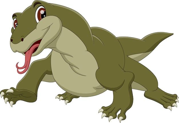 Dessin animé dragon de komodo
