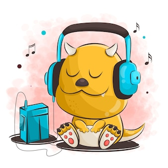 Dessin animé dragon mignon écoute de la musique