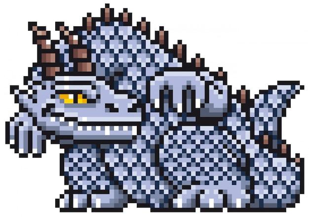 Dessin animé dragon pixel design